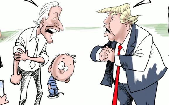 Watch Gary Varvel's method of drawing the fight between Joe Biden and Donald Trump in this time lapse video.