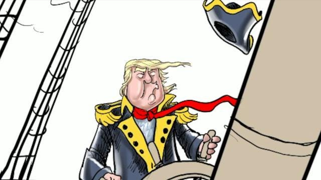 Watch how Gary Varvel draws President Trump navigating a Stormy sea in this time lapse video.