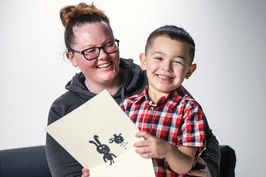 Giancarlo Gomez, 5, has restrictive cardiomyopathy and is awaiting a heart transplant. A level 2 patient, he's well enough to live at home while on oral medications. His mother, Amie Welsh, talks about the effect it's had on their family. April 2018.