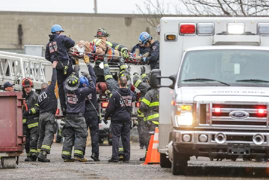 A worker was rescued after fall from a scissor lift at the site of a former Ford plant on the 1300 block of E. Washington St. in Indianapolis on Monday, April 9, 2018.