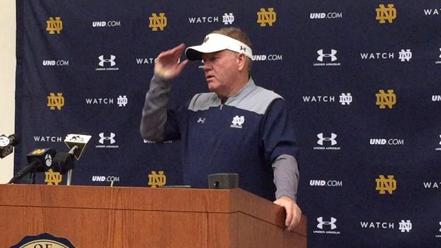 Brian Kelly on Notre Dame practice