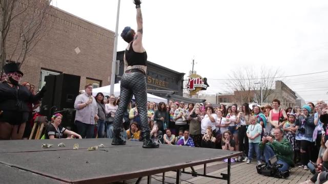 Clip of Bloomington's Verna Vendetta finishing a drag show at Columbus' Pride event, the first for the southern Indiana town, hometown of Mike Pence, Saturday, April 14, 2018.