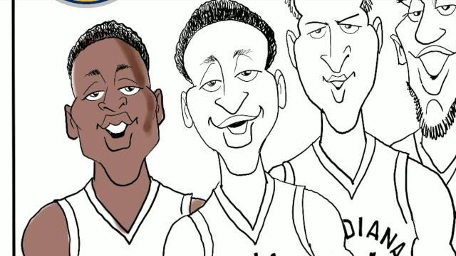 Watch Gary Varvel's method of drawing the starting lineup for the Indiana Pacers in this time lapse video.