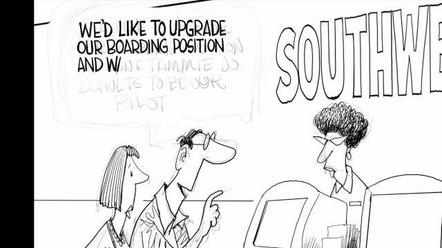 Watch Gary Varvel's technique of drawing Southwest pilot, Tammie Jo Shults in this time lapse video.