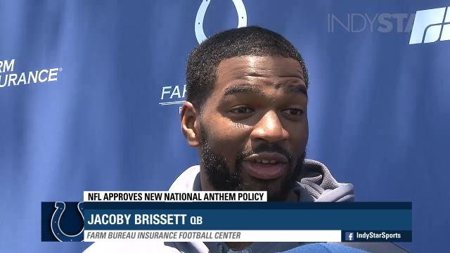 Colts' head coach Frank Reich and quarterback Jacoby Brissett comment on the new NFL national anthem policy.