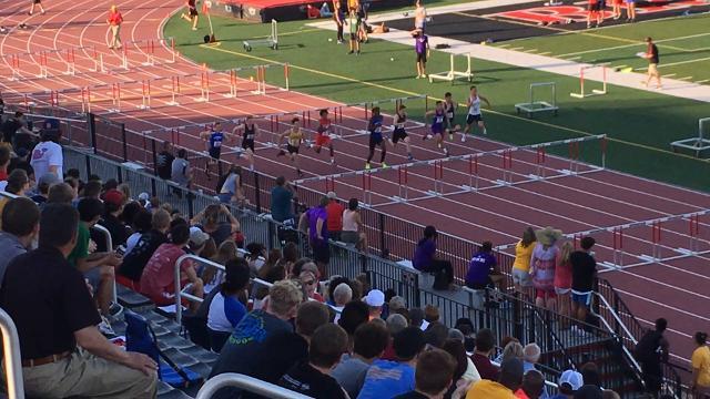 Hamilton Southeastern's Madison Norris wins the 110 hurdles at the Lafayette Regional.