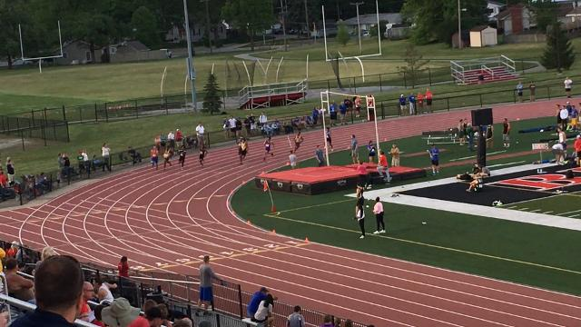 Isaac Guerendo of Avon wins the 200 meters at the Lafayette Regional.