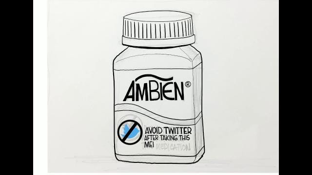 Watch Gary Varvel's time lapse drawing of the Ambien warning in this editorial cartoon.