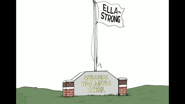 Watch Gary Varvel's time lapse video of his cartoon of Ella Whistler, 13-year-old Noblesville West Middle School shooting victim.
