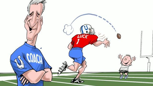 Watch Gary Varvel's time lapse video of his drawing of Andrew Luck throwing a football again.
