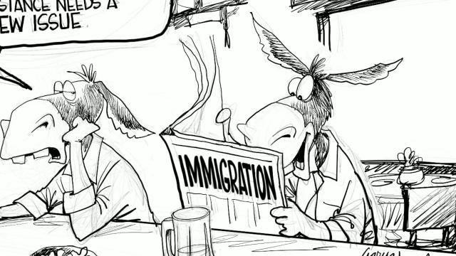 Watch Gary Varvel's time lapse video of his editorial cartoon of the Democrats' view of immigration.