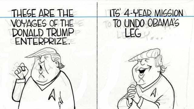Watch Gary Varvel's time lapse video of his editorial cartoon of President Trump's new branch of the military called, Space Force.