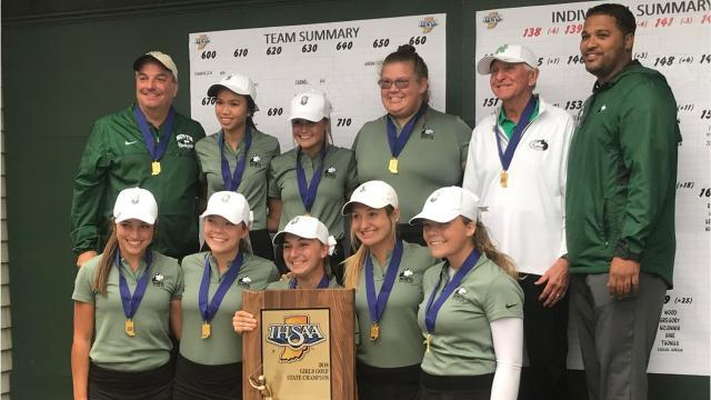 The North girls golf team returned to school as the state champions. The Huskies shot a state finals record in the final round on Saturday.