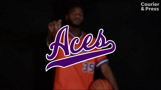 The University of Evansville men's basketball team released a video Wednesday promoting its new sleeved throwback jersey the Purple Aces will wear during Saturday afternoon's home game against Jacksonville State.
