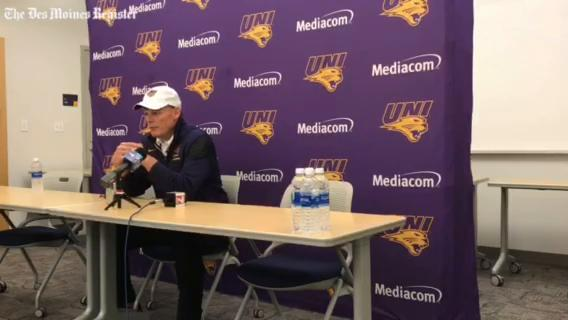 UNI coach Mark Farley talks about the Panthers' 10 sacks and Marcus Weymiller's tough running in Saturday's 19-14 win over Youngstown State.