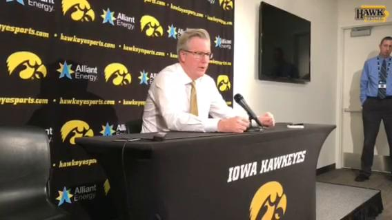 Iowa basketball coach Fran McCaffery discusses strong performances by the Hawkeyes' freshmen and Isaiah Moss in Iowa's 95-62 win over Chicago State.