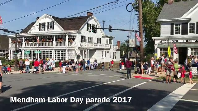 Bob and Helen Cleary became the first husband and wife to serve as the co-grand marshals of the annual Mendham Labor Day Parade. IPHONE VIDEO BY WILLIAM WESTHOVEN SEPT. 4, 2017