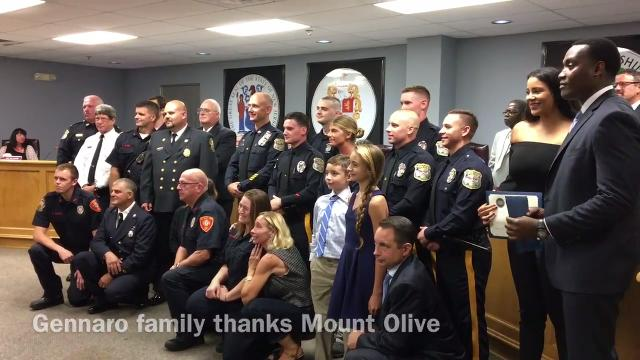 The Gennaro family of Mount Olive thanks first responders for rescuing them from a carbon monoxide-filled home on Aug. 14, 2017.