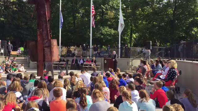 Students, first responders, veterans, and residents circled the rusted, twisted 23-foot shard of metal that was once a part of the North Tower of the World Trade Center. 9/11/17