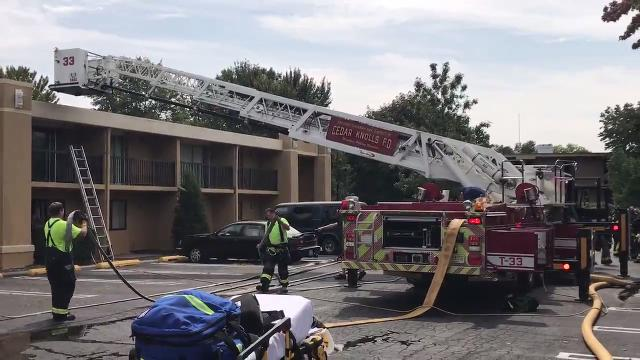 More than half a dozen companies responded to a fire Tuesday afternoon at the America's Best Value Inn hotel on eastbound Route 10 in Hanover. IPHONE VIDEO BY WILLIAM WESTHOVEN SEPT. 12, 2017.