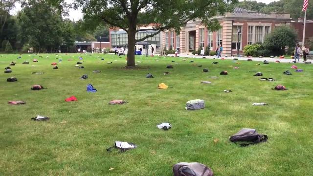 Fairleigh Dickinson University students walking through the Library Lawn on the way to class Thursday morning saw a field full of backpacks. 9.14.17