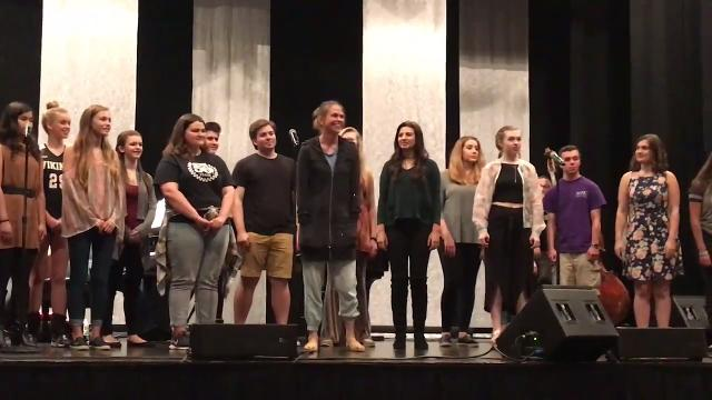 Students from the Mayo Performing Arts Center rehearse with Tony-winning Broadway star Sutton Foster on opening night of the 2017-18 season at MPAC in Morristown. IPHONE VDEO BY WILLIAM WESTHOVEN. OCT. 6, 2017