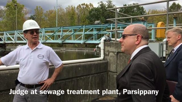 As part of research for a major civil case, Superior Court Assignment Judge Stuart Minkowitz toured a sewage treatment plant in Parsippany