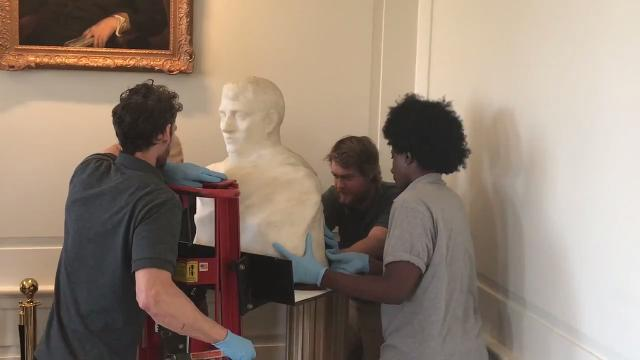 Friday was moving day for a famous sculpture by Auguste Rodin, lost to the art world for 85 years but recently discovered to have been hiding all that time in plain sight at Madison Borough Hall. IPHONE VIDEO BY WILLIAM WESTHOVEN NOV. 3, 2017