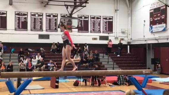 Mount Olive sophomore Brittany Wilder competes on the beam during the NJSIAA North 1 sectional meet. (Staff iPhone video by Greg Tartaglia/NorthJersey.com)