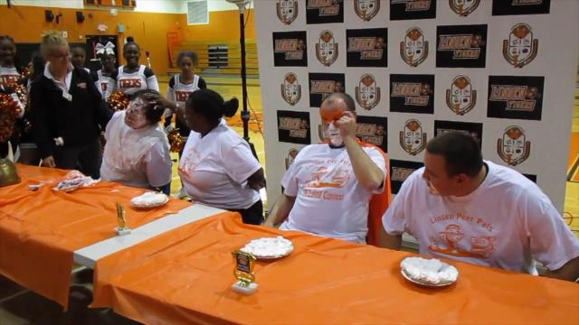 WATCH: Linden High School pie-eating contest gets messy for a good cause