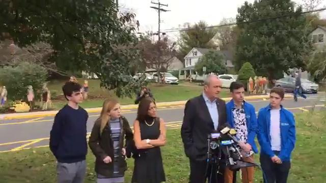 Phil Murphy answers questions after voting in Middletown