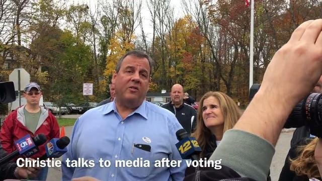 Gov. Christie voted Tuesday for Lt. Gov. Kim Guadagno as his successor and traded sharp words with a voter in Mendham Township, Morris County where both voted.