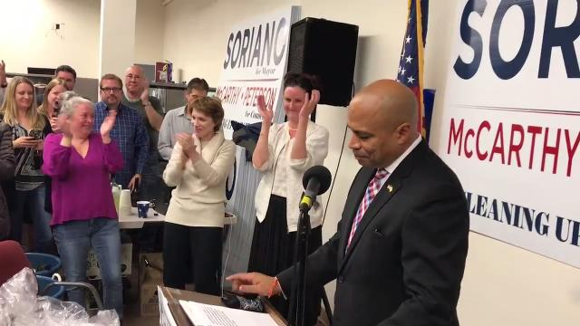 Michael Soriano led a stunning Democratic sweep of the Parsippany municipal election, besting two-term incumbent mayor James Barberio while his running mates both won their council races. IPHONE VIDEO BY WILLIAM WESTHOVEN NOV. 7, 2017
