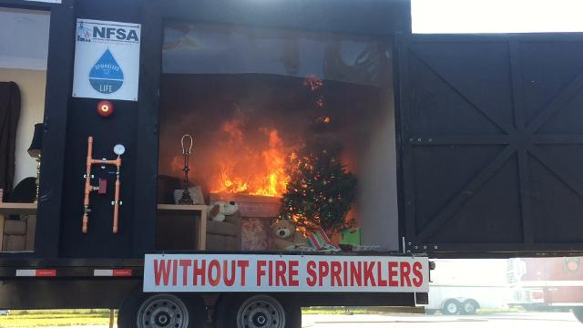 Assemblyman John Wisniewski hosted a holiday fire safety demonstration in Sayreville.