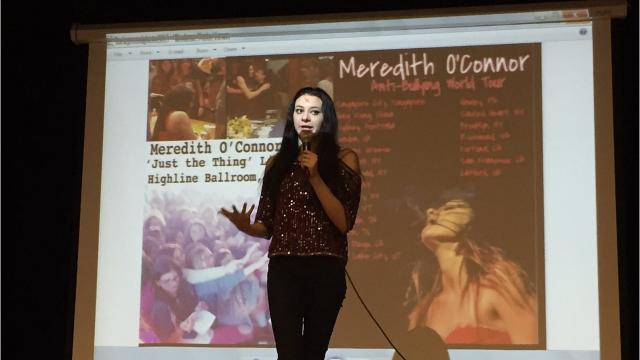 Singer/songwriter Meredith O'Connor visits seventh graders at Avenel Middle School in the Avenel section of Woodbridge on Friday.
