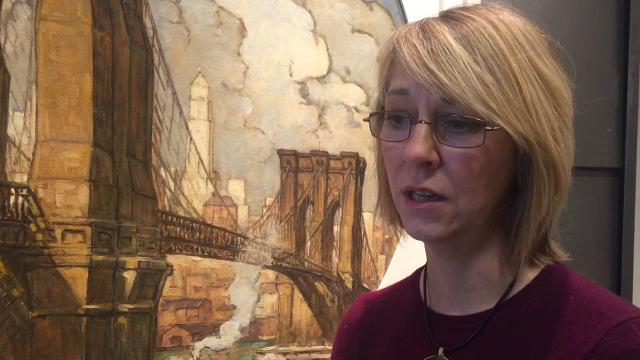 Restored Brooklyn Bridge painting unveiled at Roebling museum tells the story of John A. Roebling's Sons Co. bridge builders.