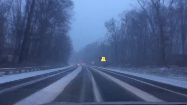 Driving in the snow on Route 287 in  Bernardsville