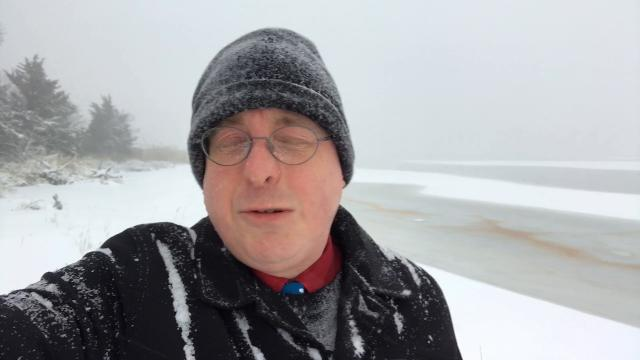 Snow storm conditions at Barnegat Bay