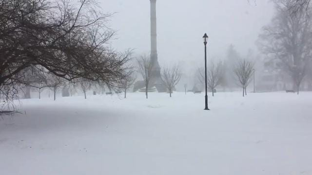 Freehold blanketed by bomb cyclone