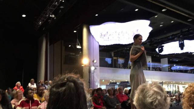 Most of this year's featured sweaters and shawls at Vogue Knitting Live in New York, 2018,  were created in neutral tones, with an occasional pop of color.