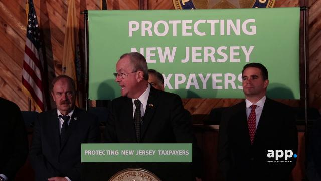 Gov. Phil Murphy makes an announcement on local tax deductions during a press conference with local mayors at Marlboro Town Hall in Marlboro, NJ.