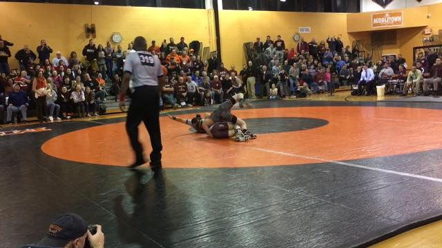 Phillpsburg defeated Middletown North 32-30 in the NJSIAA North II Group IV final even though Middletown North's Tyler Klinsky defeated Cullen Day.