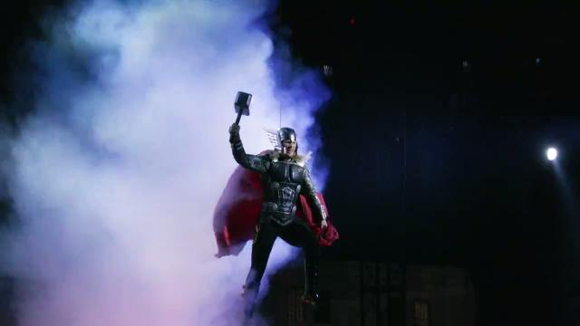 """Get a taste of death-defying aerials, pyrotechnics, martial arts and more as your favorite Marvel Universe superheroes save the planet from evil in """"Marvel Universe Live: Age of Heroes,"""" coming your way soon. Copyright ©2014, Feld Entertainment, Inc."""