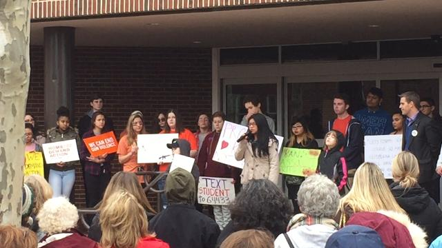 Toms River High School North senior Evelyn Nazario speaks at a rally in Toms River.