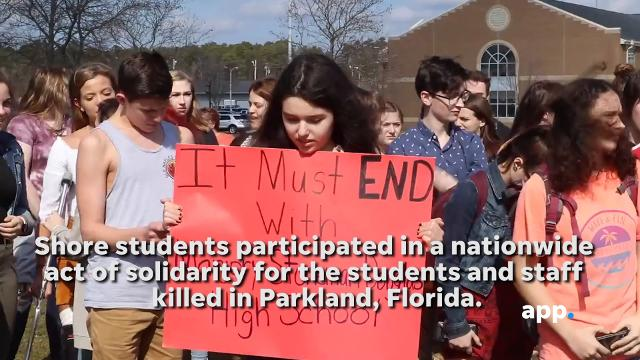 Students from across the Shore participated in a nationwide walkout to demand an end to school shootings and show support for the 17 people killed in Parkland, Florida, on February 14.