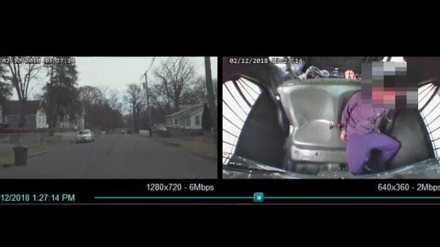 Piscataway Police Office Todd Ritter, who was charged with assaulting a suspect, seen in a dash cam video provided by the Middlesex County Prosecutor's. This video has been edited to remove profanity.
