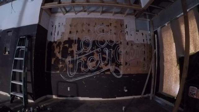 Time-lapse video of local artist Mike Kuhn (follow him on Instagram at @jmikekuhn) doing temporary branded artwork on a wall at the new Cheech's Own Coffee Company cafe in Somerville.