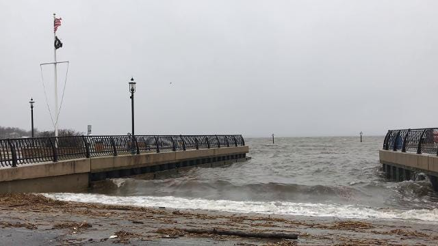 Nor'easter update: Keyport's public boat launch at 8:50am