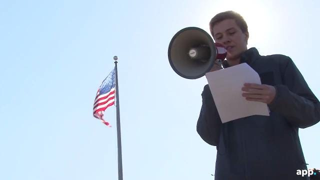Students walkout of Communications High School in Wall