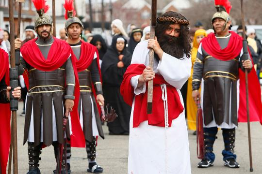 As part of Good Friday observance, Bishop of the Diocese of Metuchen James F. Checchio participated in a Way of the Cross procession with with the Catholic Hispanic Community at St Joseph Church in Carteret.